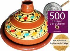 Bruine Marocstore.nl Tajine set voor 4 personen - 190 gr kruiden - incl. kookboek - vlammenverdeler
