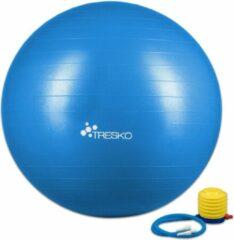 Tresko Fitnessbal met pomp - diameter 75 cm - Blauw