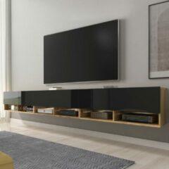 Maison Home Tv meubel - Eikenhout/Zwart - Wander - Led - 300x30x32,5