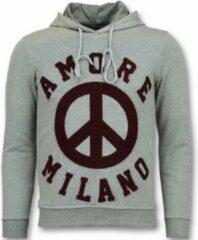 Tony Backer Flockprint Hoodie Heren - Peace Hoodie Mannen - Grijs Hoodies Heren Sweater Maat S