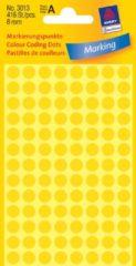 Avery-Zweckform 3013 Etiketten à 8 mm Papier Geel 416 stuk(s) Permanent Etiketten voor markeringspunten