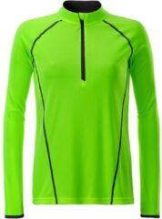 James & Nicholson James and Nicholson Dames/dames Sport Top met lange mouwen (Helder groen/zwart)