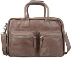 Bruine Cowboysbag-Laptoptassen-The College Bag 15.6 inch-Grijs