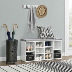Witte [en.casa]® Schoenenrek - schoenenkast - zitbank - 10 planken