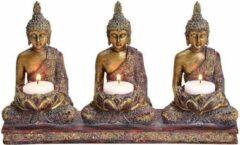 G.Wurm Drie Gouden Buddha's Theelichthouder - voor drie waxinelichtjes