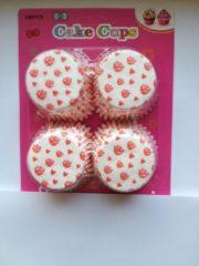 Het Borstelhuis vof Cupcake Vormpjes Papier - Muffin Vormpjes - 100 Stuks - Diameter 5 cm - Wit met Roze Roosjes en Hartjes