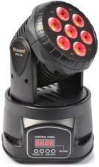 Zwarte Beamz MHL-74 Mini Moving Head Wash 7X 10W DMX 13-Kanaals RGBW