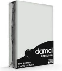 Damai Dubbel Jersey Hoeslaken - 100% Dubbel Gebreide Jersey Katoen - Lits-jumeaux (180/200x200/210/220 Cm) - Light Grey