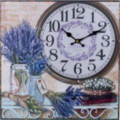 Canvas Schilderij Wandklok LAVENDEL FLOWERS & BOOKS 38 Cm met Klok - Wand Klok Landelijk / Brocante - Canvasklok - Canvas Wandklokken met Klok - Keukenklok - Muurklok Wand Klok - Afm. 38 x 38 Cm - Decopatent®