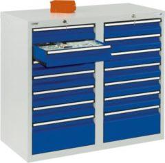 Stumpf Metall Stumpf® STS 410 Schubladenschrank mit 14 Schubladen, lichtgrau / blau - 90 x 100 x 50 cm