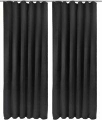Beautissu Verduisterend Gordijn - Met Plooiband - 2 Set - 245x140 cm - Zwart
