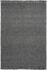 Antraciet-grijze Decor24-OB Handgeweven laagpolig vloerkleed Eskil - Wol - Antraciet - 80x150 cm