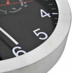 Zwarte VidaXL Wandklok met quartz-mechanisme hygrometer thermometer 30 cm...
