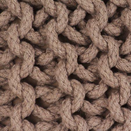 Afbeelding van VidaXL Poef handgebreid 50x35 cm katoen bruin