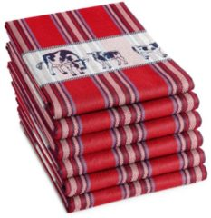 Rode DDDDD Friesan - Theedoek - 60x65 cm - Set van 6 - Red