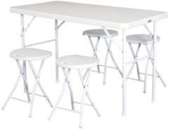 Outsunny Campingtisch Picknicktisch Sitzgruppe 5 tlg. klappbar Weiß Campingtisch Sitzgruppe Campingmöbel Tisch Stuhl