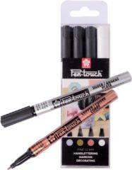 Sakura Pen-Touch handlettering decomarkers decoratiestiften set 4 kleuren met fijne punt (1,0 mm)