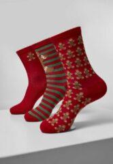 Rode Urban classics Christmas Gingerbread Lurex Socks 3-Pack Kerstmis - Kerst - Christmas - Fun - Gift - Geschenk - Feestdagen - Modern - Casual