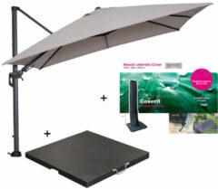 Zandkleurige Garden Impressions Hawaii zweefparasol 300x300 cm donker grijs/zand met 90 kg parasolvoet en parasolhoes