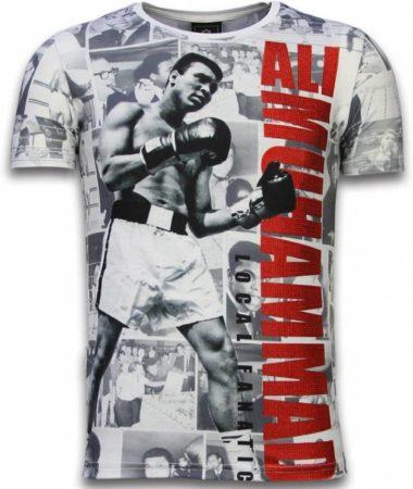 Afbeelding van Witte T-shirt Korte Mouw Local Fanatic Muhammad Photocollage - Digital Rhinestone T-shirt