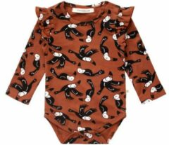 Your Wishes newborn baby romper dierenprint bruin/zwart