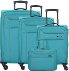 Solaris 4-Rollen Kofferset mit Flugumhänger 4 tlg. Travelite aqua orange