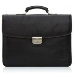 Zwarte Castelijn & Beerens Verona businesstas van leer met 13.3 inch laptopvak