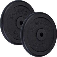 Zwarte ScSPORTS® Gewichten - Halterschijven set 40 kg - Gietijzer- 30 mm - 2x20 kg