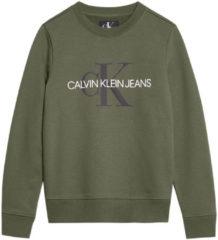 Calvin Klein Jeans sweater met logo olijfgroen