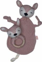 Roze Jollein speendoekje | speendoek + rammelaar | collectie Deer pale pink | rammelaar | knuffeldoekje