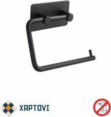 Xaptovi wc-rol houder - zwart - bevestigen zonder boren - WC Rolhouder Zwart - Zelfklevend Industrieel design - Toiletrolhouder zonder boren