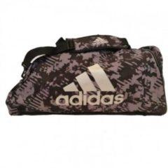 Adidas Combat Sporttas Polyester 2 in 1 Zwart Camo/Zilver Large