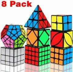 Qiyi Speed Cube - Speed Cube Set 8 stuks - Speed Cube Giftset - Magic Cube - Kubus Puzzel - Breinbrekers - voor kinderen en volwassenen