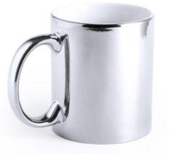 Merkloos / Sans marque Metallic zilveren koffiebeker/theemok keramisch 350 ml - Servies - Bekers/mokken