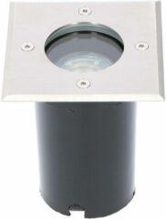 Roestvrijstalen BES LED LED Grondspot - Sanola Aton - Inbouw - Vierkant - GU10 Fitting - Waterdicht IP67 - RVS Geborsteld