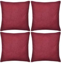 Rode VidaXL Kussenhoezen katoen 50 x 50 cm bordeauxrood 4 stuks