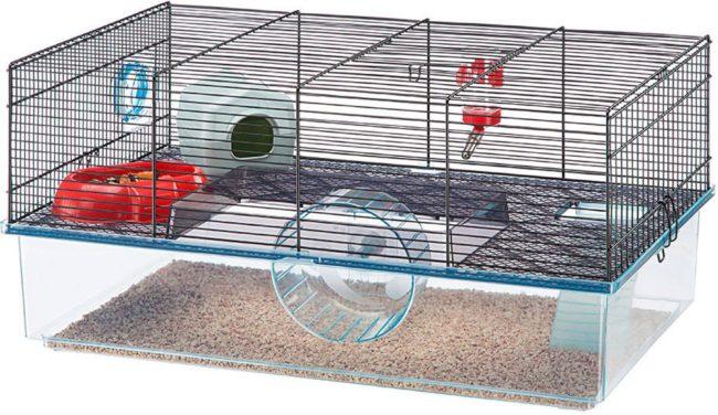 Afbeelding van Transparante Ferplast Hamsterkooi Favola - Zwart - 60 x 36,5 x 30 cm