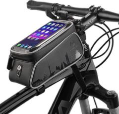 Zwarte WHEEL UP 6-inch front frame fietstasje Waterproof smartphone fietstas