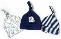 Donkerblauwe JillyBee - Newborn - Mutsje - Mutsjes - 3pack - Olifant - Olifanten