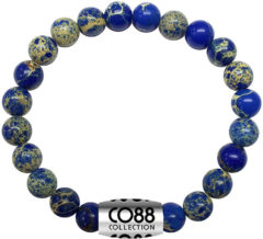 CO88 Collection Elemental 8CB 17025 Rekarmband met Stalen Element - Sediment Natuursteen 8 mm - One-size - Blauw