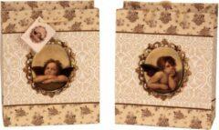 Beige B-home-interieur.be Geschenktas 'Raphael-Engel' 18x10x23cm - 23 CM HOOG - 2 stuks