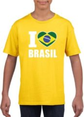Gele Shoppartners Geel I love Brazilie supporter shirt kinderen - Braziliaans shirt jongens en meisjes M (134-140)