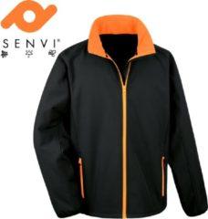 Senvi Sports Softshell Jas Unisex - Kleur Zwart/Oranje - Maat M