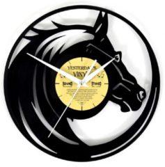 Zwarte Yesterdays Vinyl Lp Klok met Paard - Vinyl - Wandklok - Paardenhoofd - Ø 30 CM