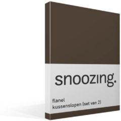 Snoozing flanel kussenslopen (set van 2) - 100% geruwde flanel-katoen - 60x70 cm - Standaardmaat - Bruin