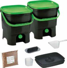 Zwarte Skaza Exceeding Expectations Skaza Bokashi Organko keukencompostbak van gerecycled plastic | 2x 16 L | Starter Set voor keukenafval en compostering | met EM zemelen 1 kg