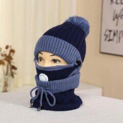 Knaak 3-1 Muts - Sjaal - Mondkap - Wol - Warm - One Size - Blauw