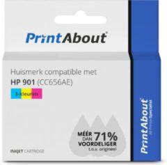 PrintAbout Huismerk compatible met HP 901 (CC656AE) Inktcartridge 3-kleuren