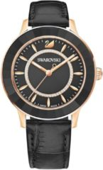 Swarovski Octea Lux Watch, Leather strap, Black, Rose gold tone Teal Rose gold-plated