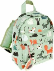 "Groene Rex London - Mini Rugtas - Peuter Rugzak - Backpack - ""Nine Lives"" - Poezen - Katten"